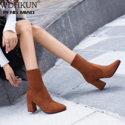 Black Brown Flock Thick Heel Ankle Boots