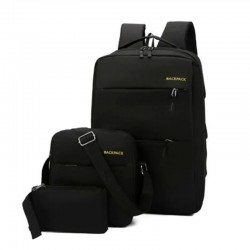 3pcs/set Men's Backpack USB Charging
