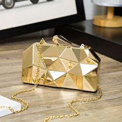 Gold Acrylic Box Geometry Clutch
