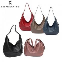 Casual Large Real Leather Shoulder Bag
