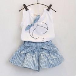 Girls Cute Bowknot Girl Pattern Sleeveless T-Shirt Tops+Plaid