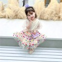 Girl Lace Flying Sleeve Top+Embroidered Mesh Skirt Suit Baby Clothes