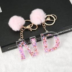 1PC Women Keychains  26 Glitter