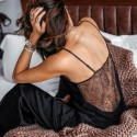 Backless Satin Sexy Black Lace Pajamas With Pants