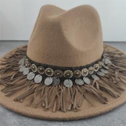 Boho Women Wide Brim Wool Felt Hat